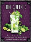 Metal Sign Mojito Recipe Ingredients Cafe Beach Bar Steel Plaque